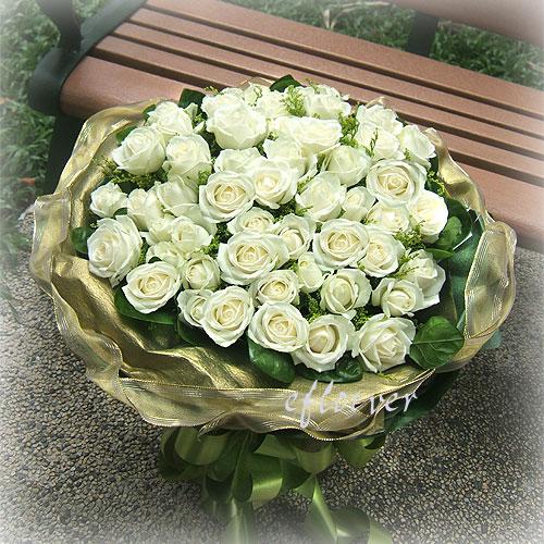 花束-幸福白玫瑰10102