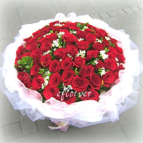 花束 花舞99朵紅玫瑰花 花店情人節暢銷排行榜
