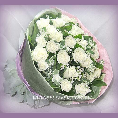 御花苑-深情白玫瑰花白色純潔之愛