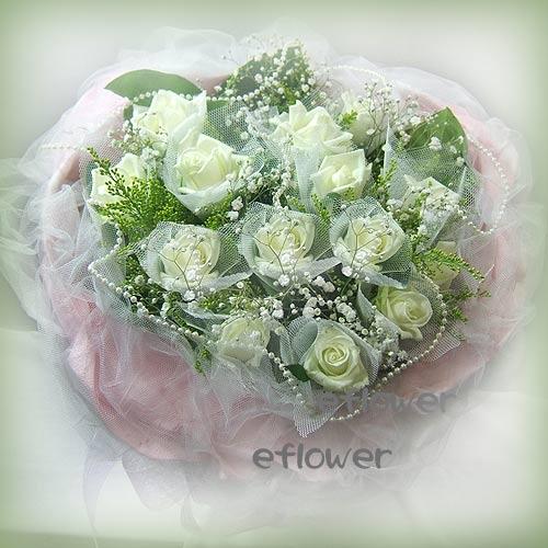 御花苑-白玫瑰花束1020