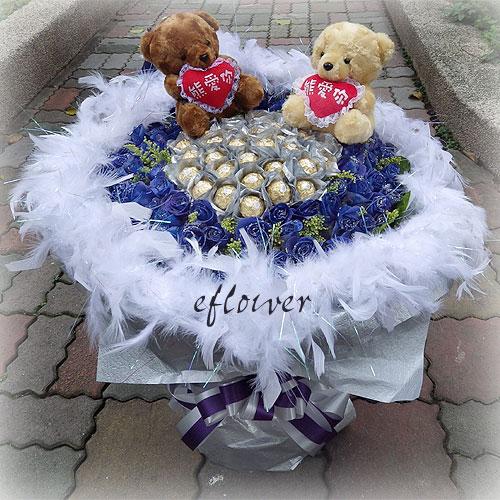 御花苑-藍玫金沙花束