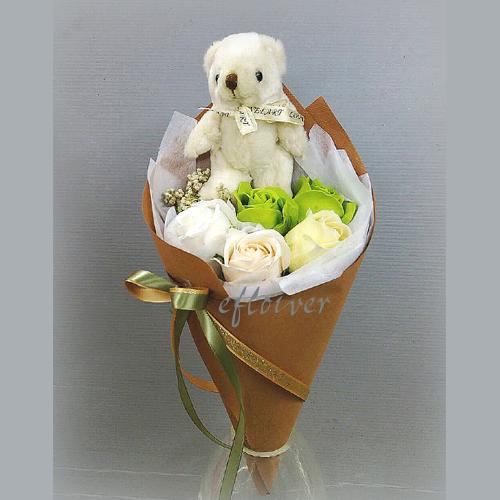 小熊玫瑰花香皂花束